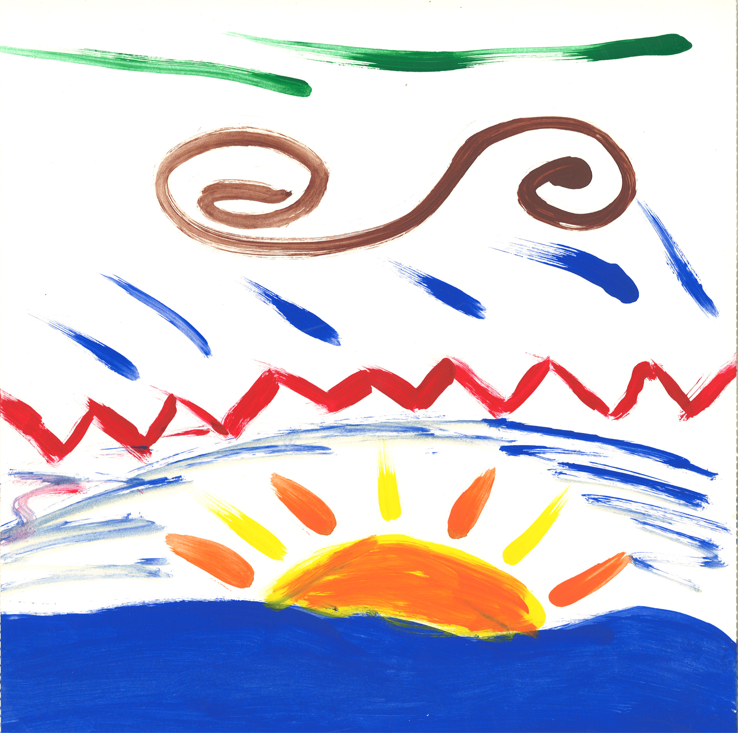 a painting of the sun coming up at summer camp