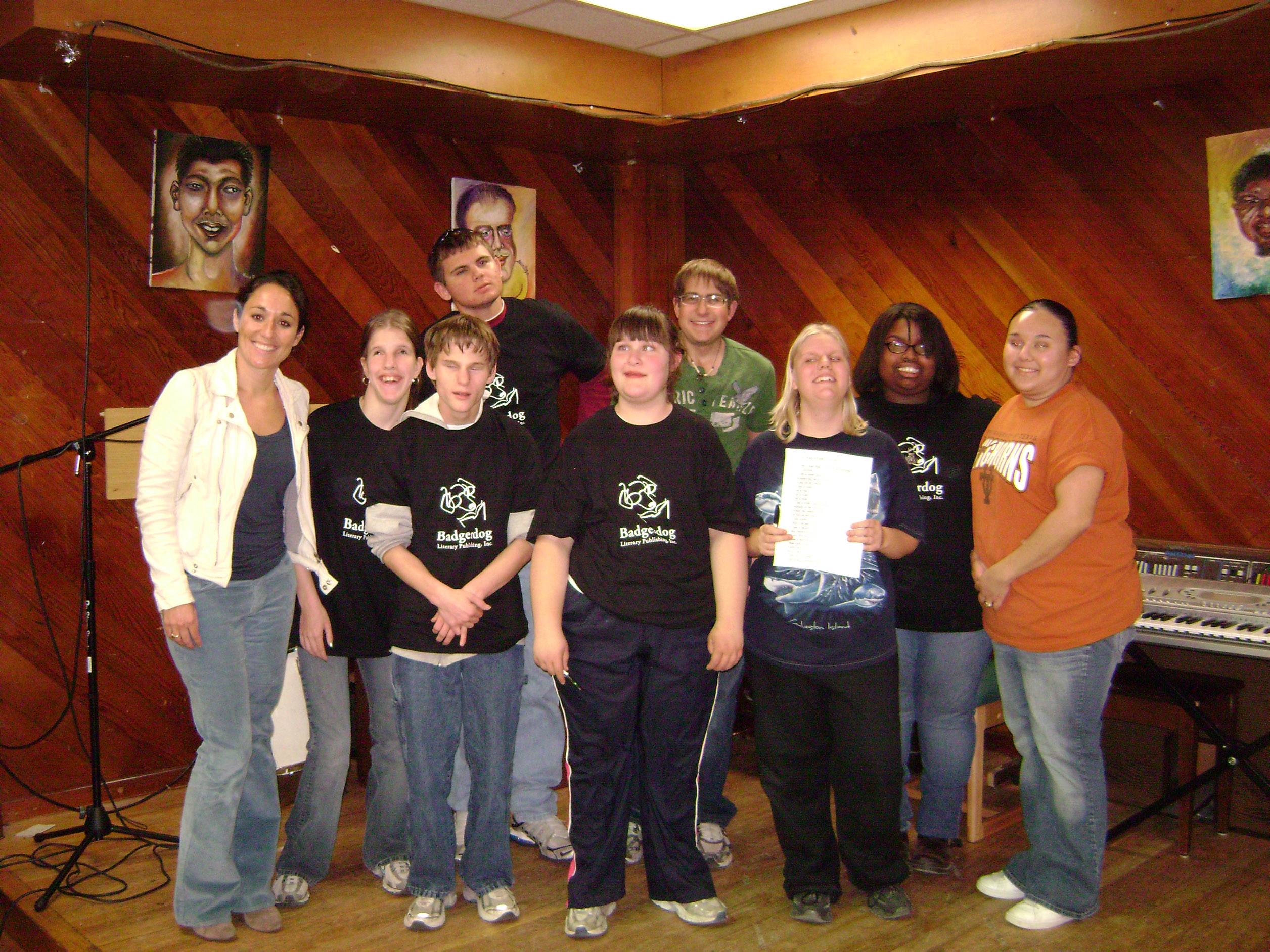 Badgerdog creative writing group at the Texas School for the Blind and Visually Impaired in 2009