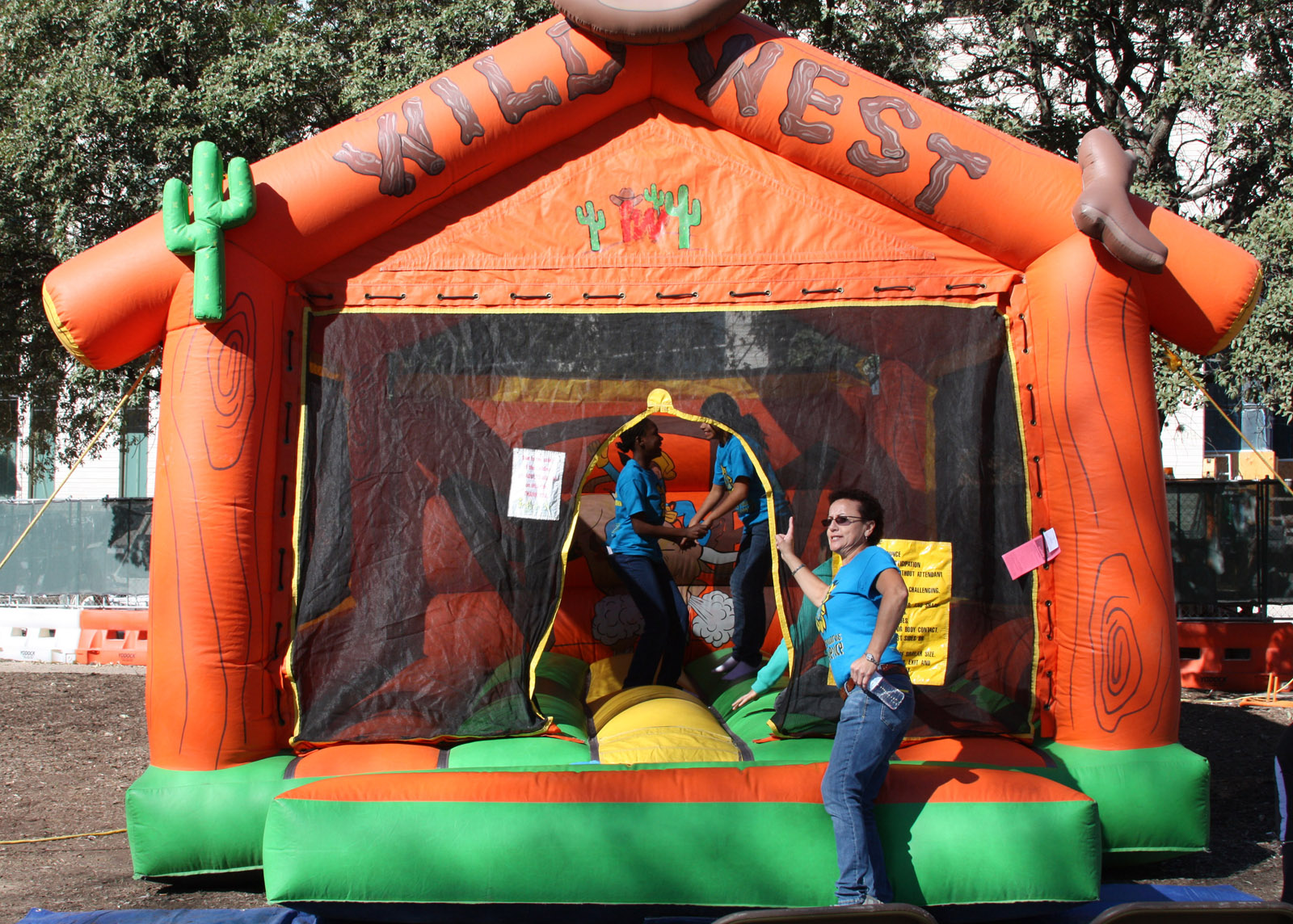 kids in the jumping house at the White Cane Day in Austin, Texas in 2011